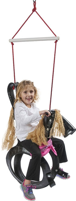 Girl Riding Horse Tire Swing