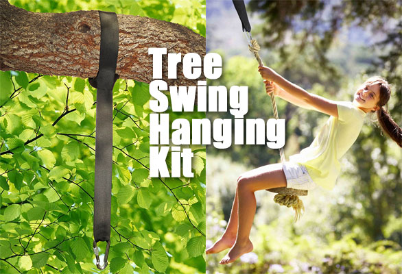 Easy, Secure Tree Swing Hanging Kit with Strap and Carabiner, Holds Up to 1,000 lbs